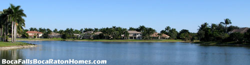 Many of Boca Falls ine homes are built on a lake giving them a fantastic water view.